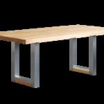 Tisch BX280 Wildeiche geölt, Ästchen und Risse der Platte mit Zinn ausgegossen