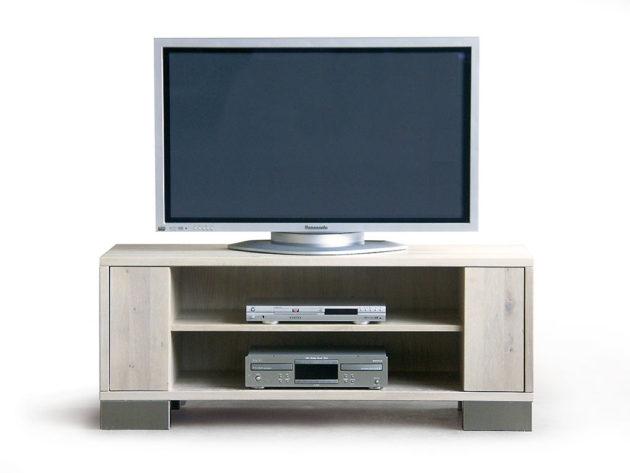 CT027 TV-Podest Eiche weiß, Lisenen klappbar oder mit optionalem CD-Auszug, Edelstahlfüße