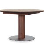 DM120 Tisch, Nussbaum geölt, runde Platte, Sonderausführung als Kulissentisch mit geteilter Säule und sep. Einlegeplatten, Bodenplatte Edelstahl