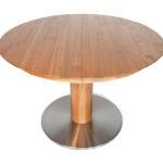 DM115 Tisch, Kirsche geölt, runde Platte, Synchronauszug mit Klappeinlage