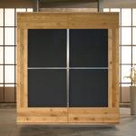 SQ086 Schrank Wildeiche geölt, Türen mit aufgelegtem, lackiertem Glas anthrazit satinato