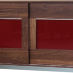 Sideboard SQ332 Nussbaum geölt, Glas rot