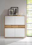 SQ366 Highboard Rüster geölt, Glas satinato weiß