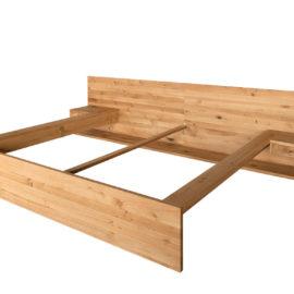 DR182 Bett mit Kopfteil 2-teilig, bodenstehend, 2 hängende Schubkästen, Wildeiche geölt