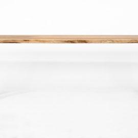 IX282 Esstisch Kernesche, 3-teilige massive Bohlenplatte mit geschliffener Baumkante, Gestell Rohlstahl lackiert