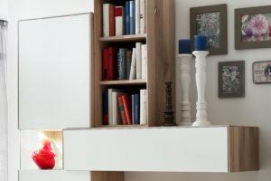 KT259 Wandhängeschrank Wildeiche weiß geölt, Lack weiß
