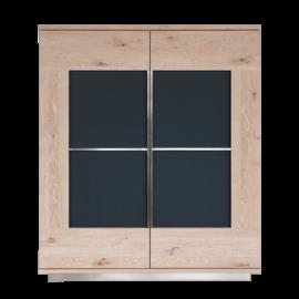 SQ084 Schrank Wildeiche weiß lackiert, Türen mit aufgelegtem, lackiertem Glas anthrazit satinato