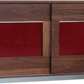 SQ332 Sideboard/Anrichte Nussbaum geölt mit Schiebetüren, Glas rot